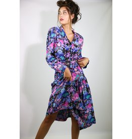1980's Blue & Pink Floral Business Dress