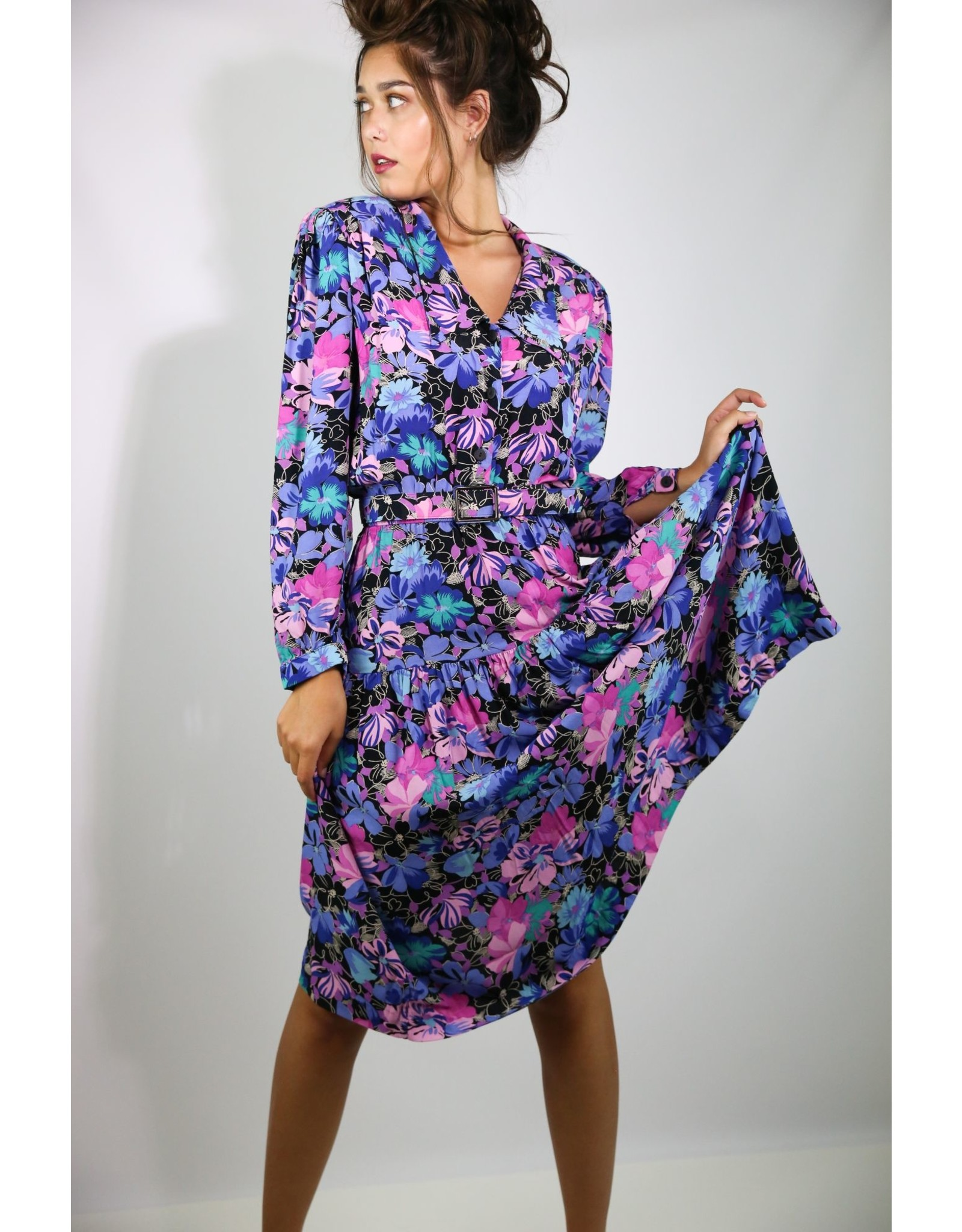 1980's Blue & Pink Floral Business Dress
