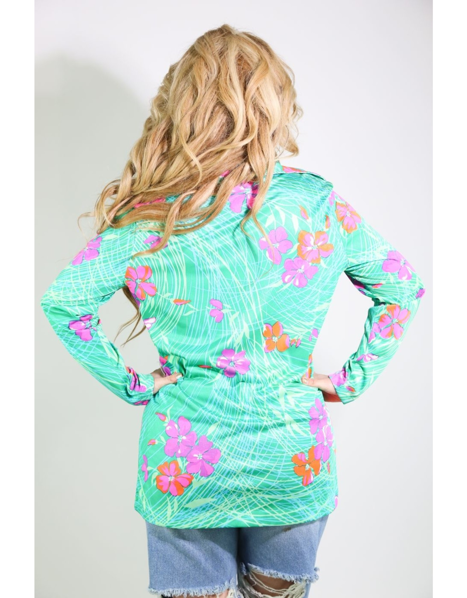 1970's Polynesian Pink & Green Shirt