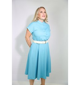 1970's Textured Blue House Dress