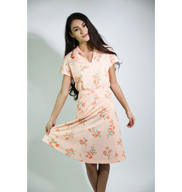 1970's Peach Floral Skirt Set