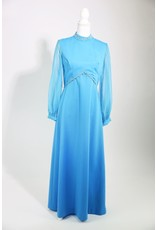 1970's Plus Size Blue Renaissance Revival Maxi Dress