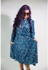 1980's Blue Print Casual Dress
