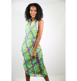 1980's David Warren Rainbow Dress