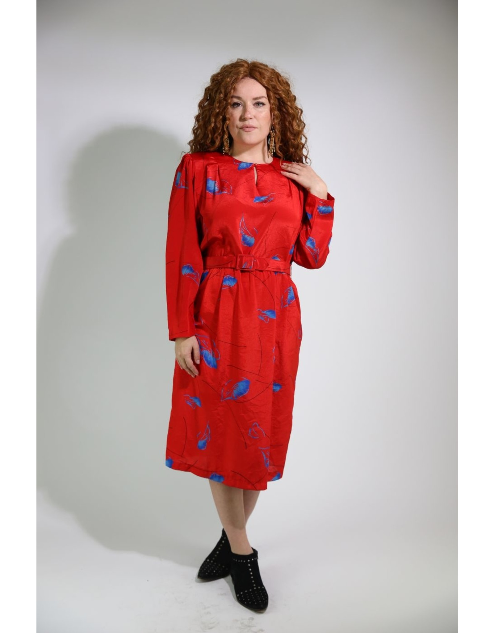 1980's Red &Blue Casual Dress