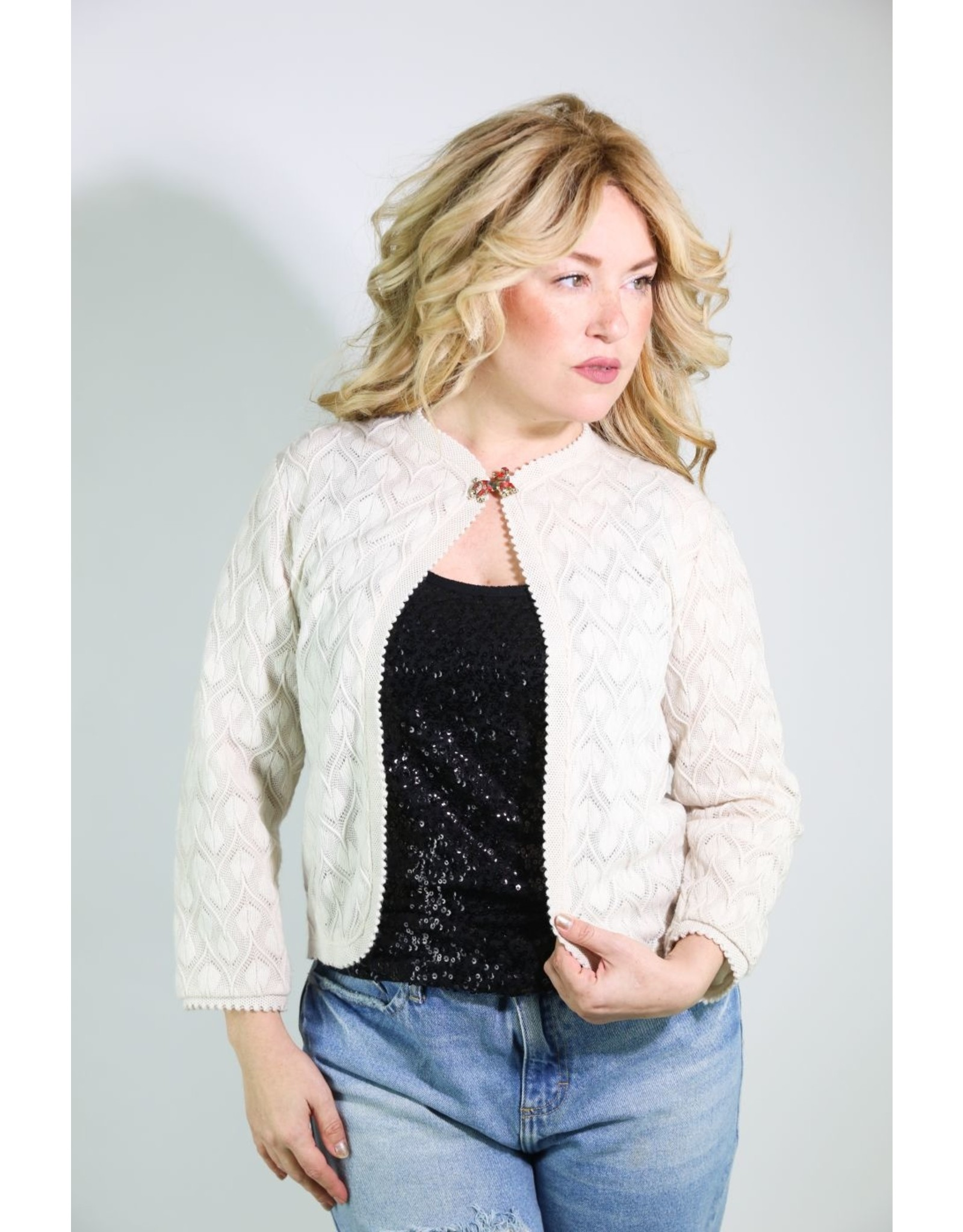 1950's Ivory Vienna Lace Knit Cardigan