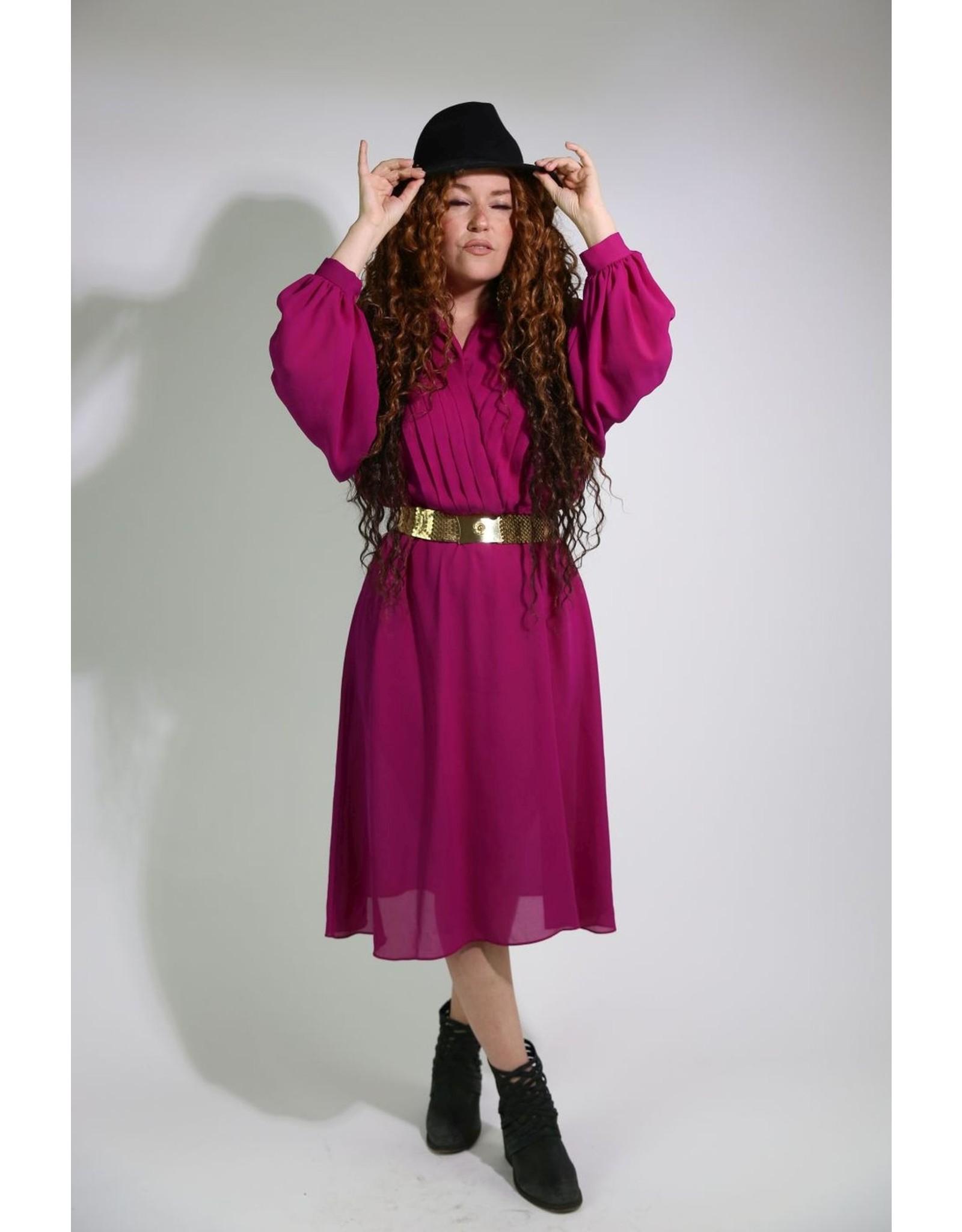 1980's Magenta Blouse Dress