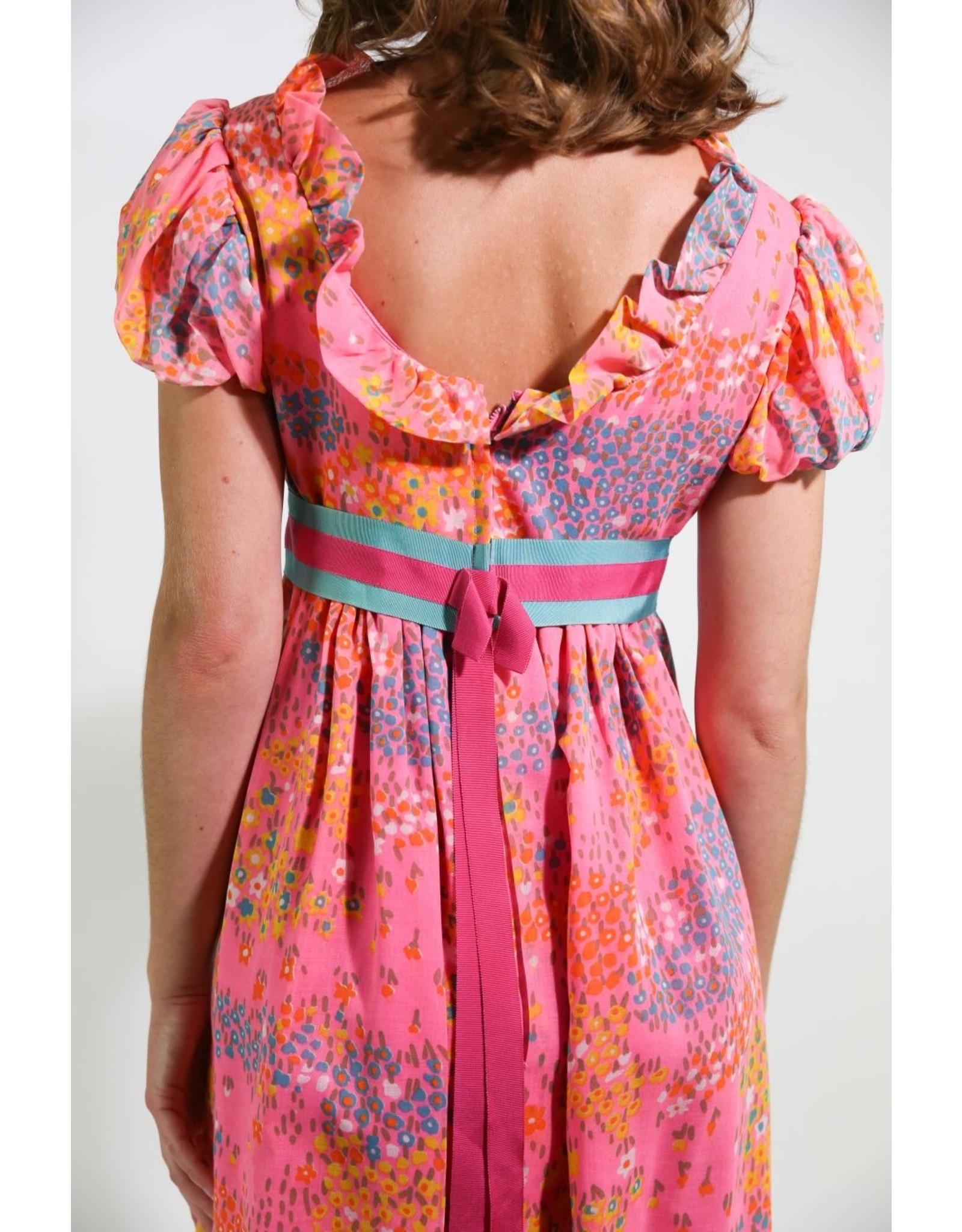 1960's Pink & Blue Baby Doll Maxi Dress