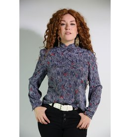 1980's Blue & Red Bib Blouse