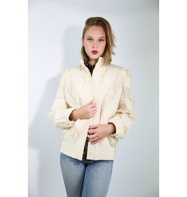 1980's EJ Harper Ivory Pin Tuck Silk Jacket