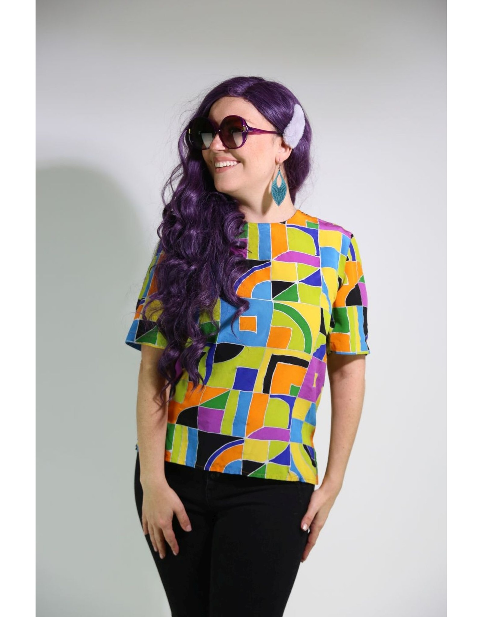 1980's Colorful Geometric Top