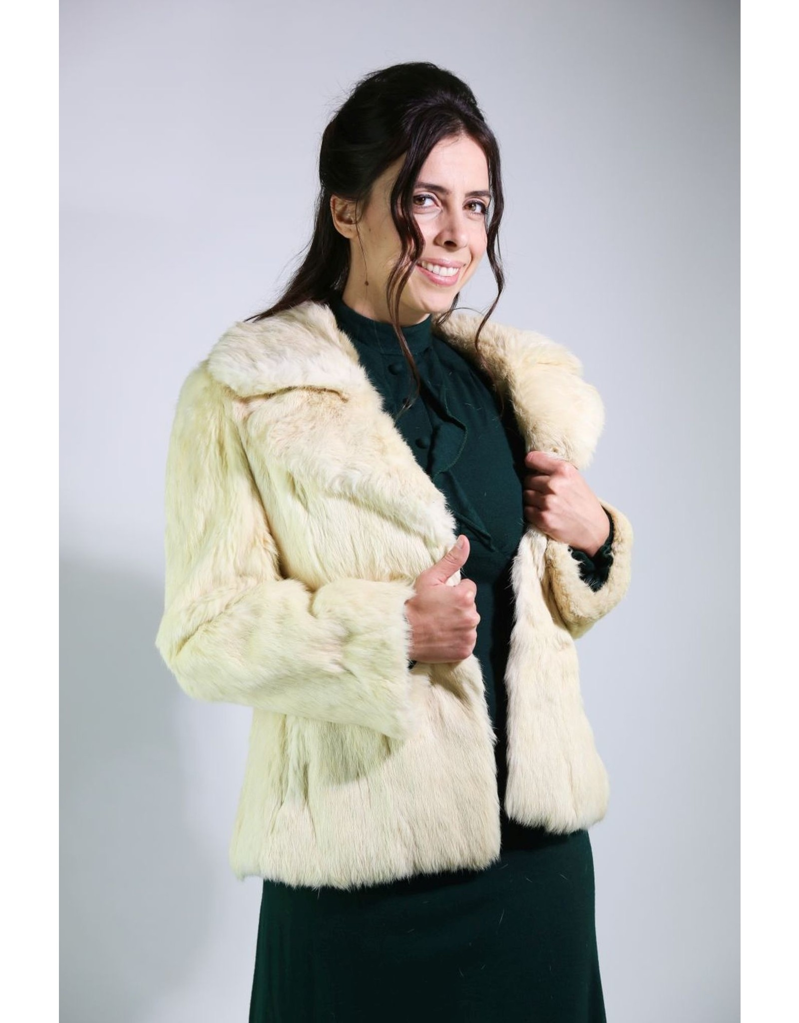 1980's Large White Rabbit Fur coat