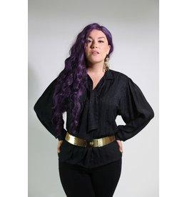 1980's Black Long-Sleeve Blouse