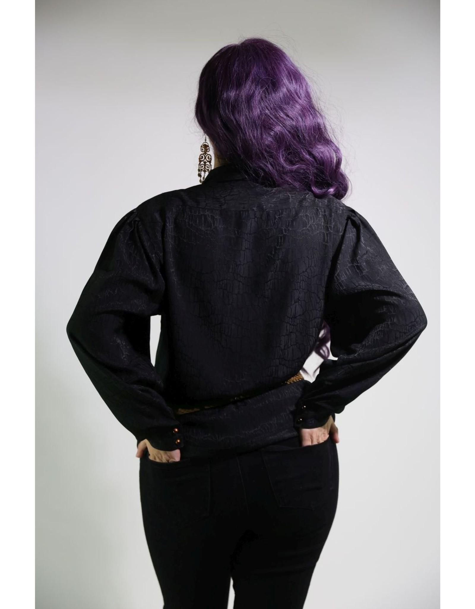 1980;s Black Long-Sleeve Blouse