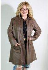 1970's Long Brown Leather Coat