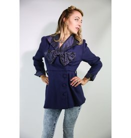 1950's Blue Jacket w/ Polka Dot Collar