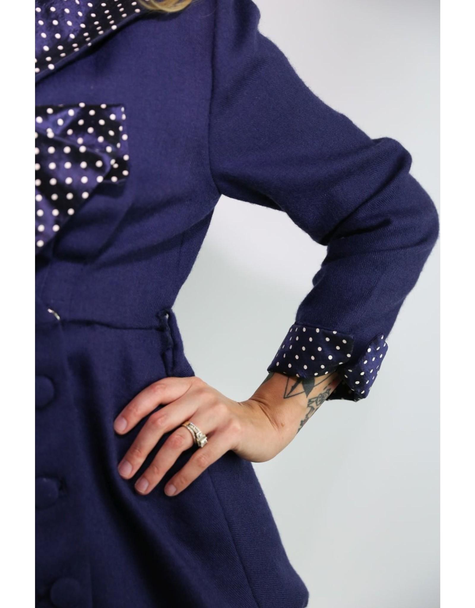 1950's Blue Jacket w/ Polka Dot Collar