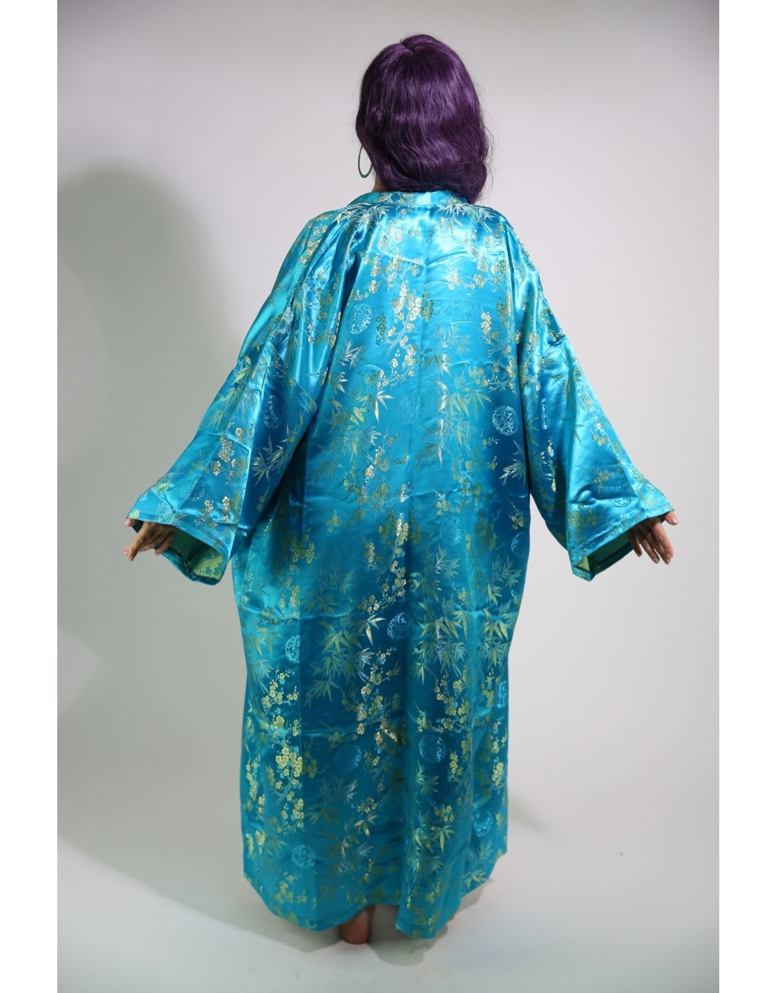 1990's Teal and Gold Satin Kimono