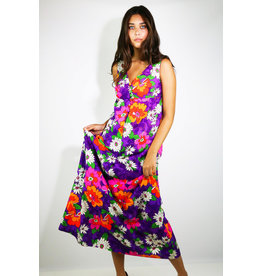 1960's Purple, Orange, Pink, & White Floral Maxi Dress