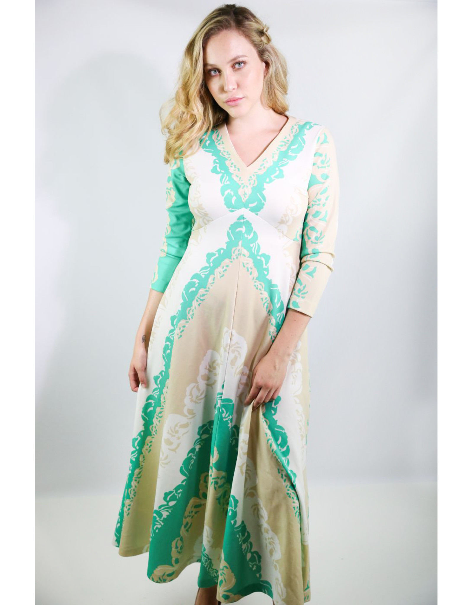 1970's Tan, Green, & White Polynesian Print Maxi Dress