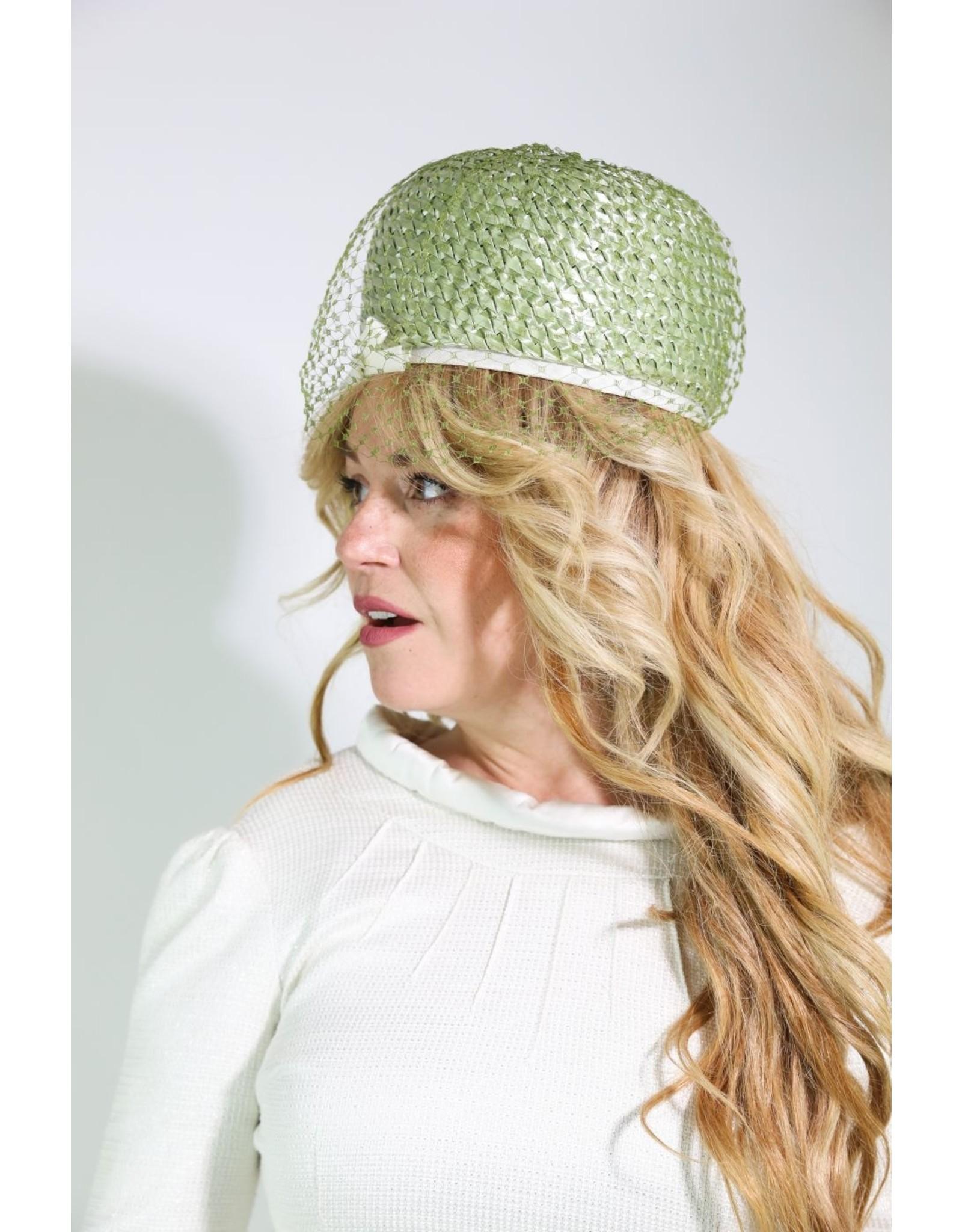 1960's Marshall Field & Co. Green Straw Mushroom Hat
