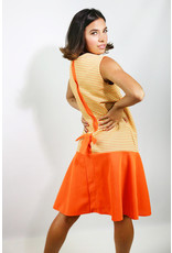 1960's Mary Dobbs Originals Orange & Green Mini Dress