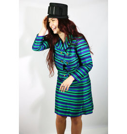 1960's Plus Size Green & Purple Coat Dress