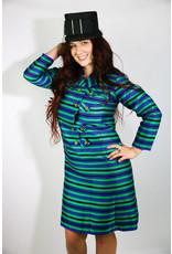 1960's Plus Size Green & Purple Coat Dress