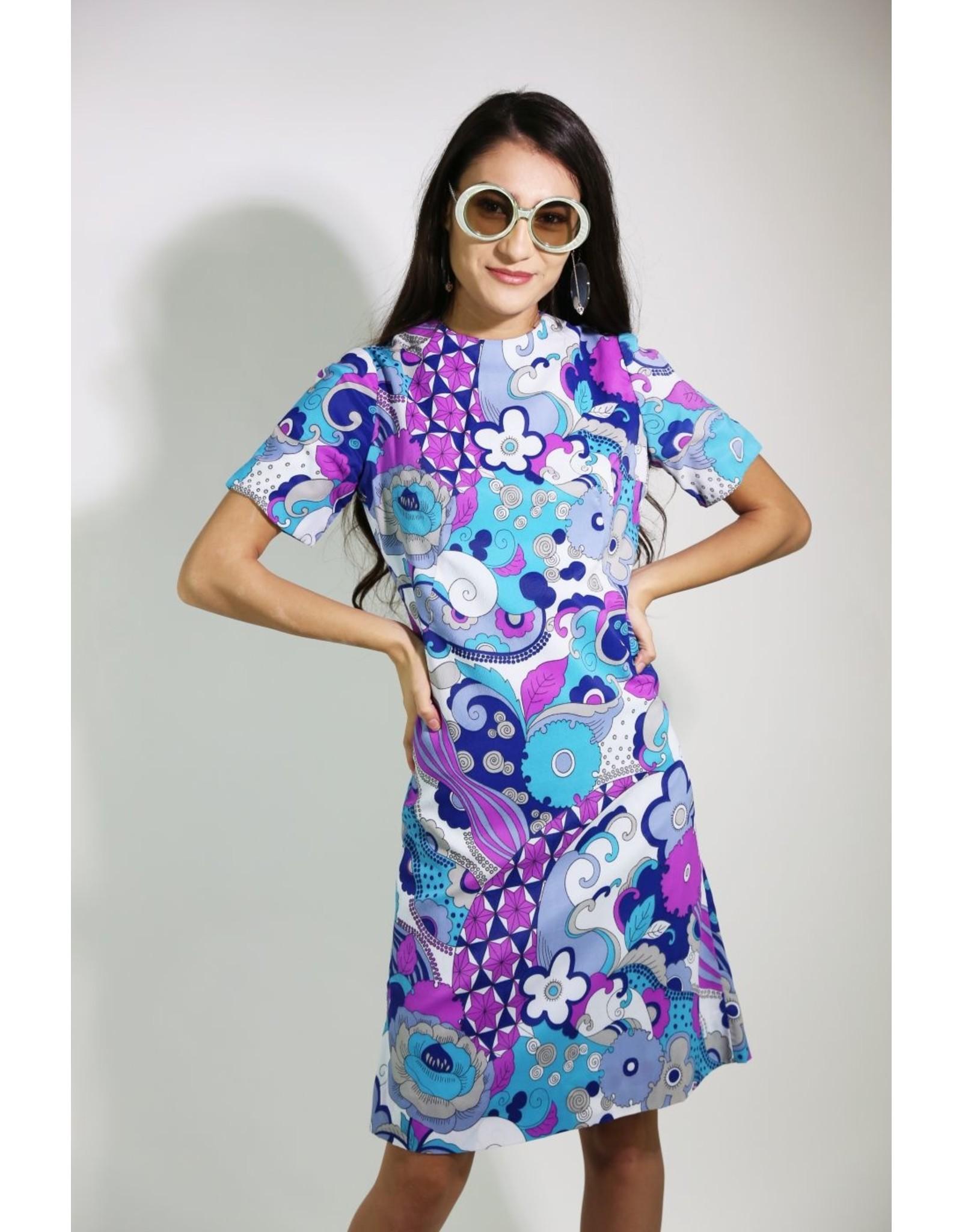 1960's Purple & Blue Carol Brady Dress
