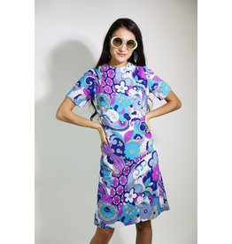 1960's Purple & Blue Carol Brady Dress