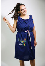 1960's Plus Size Navy Blue Day Dress w/ Rainbow Trim