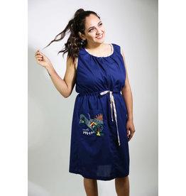 1960's Plus Size Navy Blue Day Dress w/ Rainbow Trim