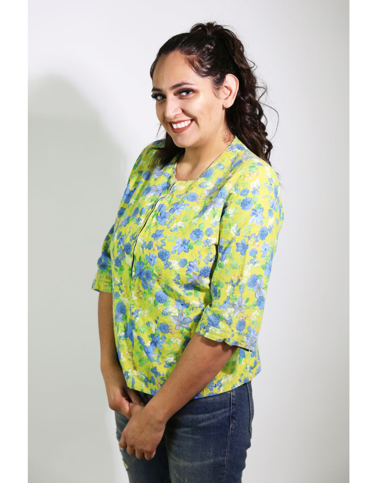 1960's Plus Size Yellow & Blue Top