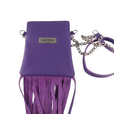 14th Rose Purple Leather Cell Phone Purse with Fringe