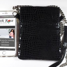14th Rose Black Cell Phone Purse