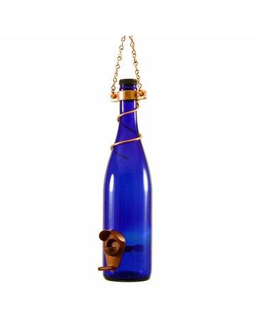 Bottles Uncorked Wine Bottle Bird Feeder - Colbalt Blue and Copper