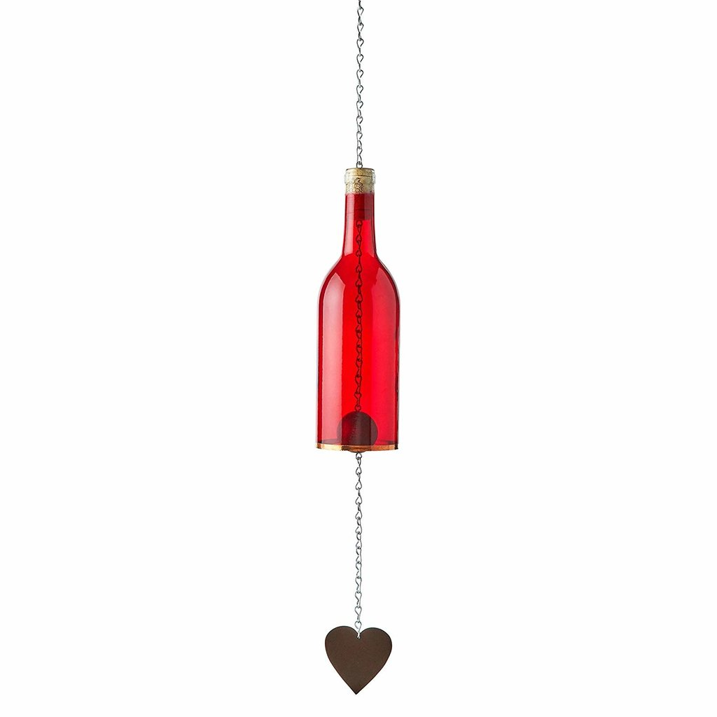 Bottles Uncorked Wine Bottle Wind Chime - Red