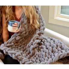 Gosh(i) Goods Gray Chunky Knit Blanket
