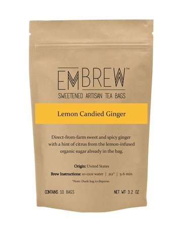 Embrew Lemon Candied Ginger Sweetened Herbal Tea Bags - 10 Bags