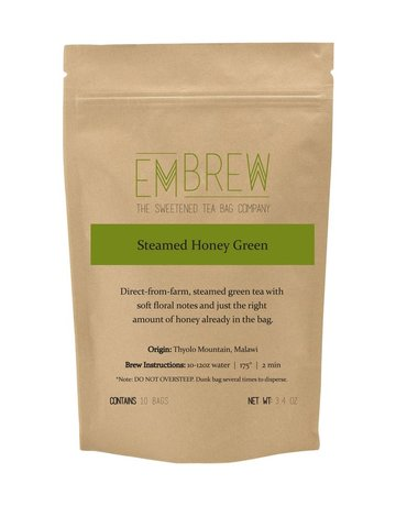 Embrew Steamed Honey Green Sweetened Tea Bags - 10 Bags