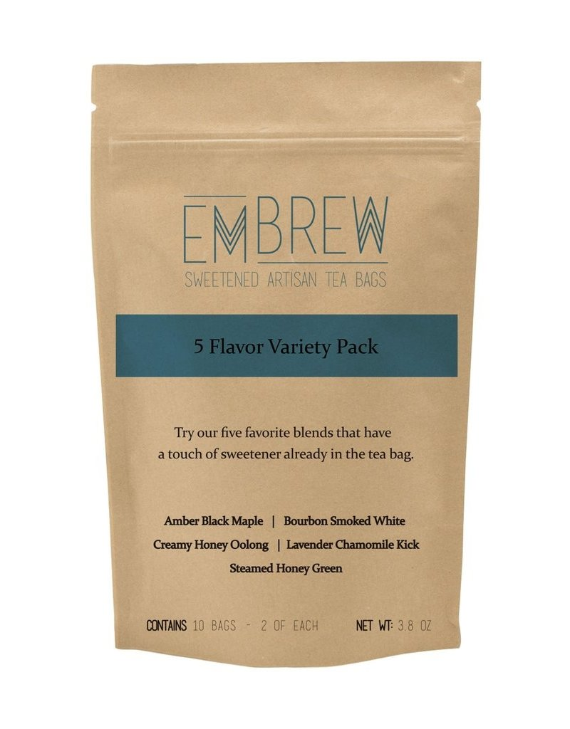Embrew 5 Flavor Variety Pack of Sweetened Artisan Tea Bags - 10 Bags