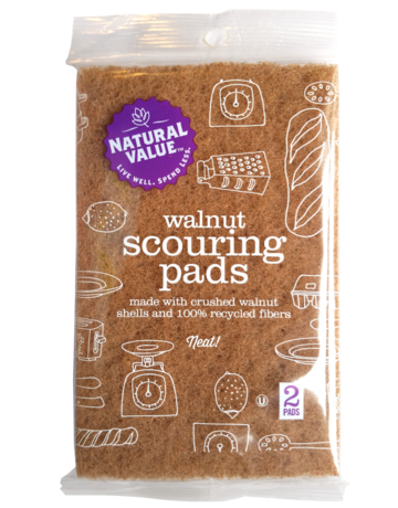 Natural Value Walnut Scouring Pads - 2 Pack