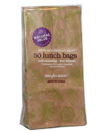 Natural Value Recycled Brown Paper Lunch Bags - 50 Count