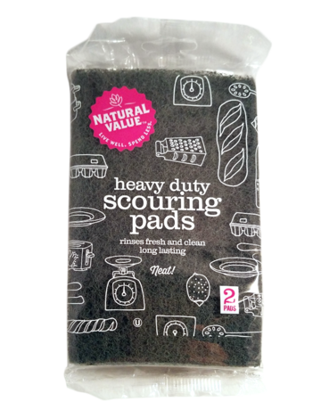 Natural Value Heavy Duty Scouring Pads - 2 Pack