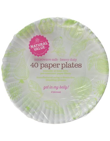 Natural Value Recycled Paper Plates - 9 Inch - 40 Count