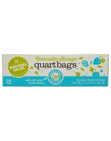 Natural Value Quart Storage Recloseable Bags - 24 Count