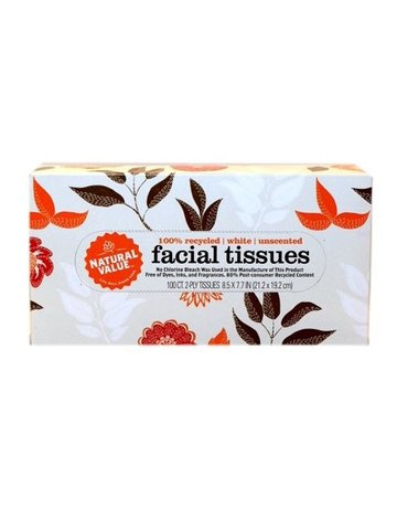 Natural Value Facial Tissue - 2 Ply - 100 Count