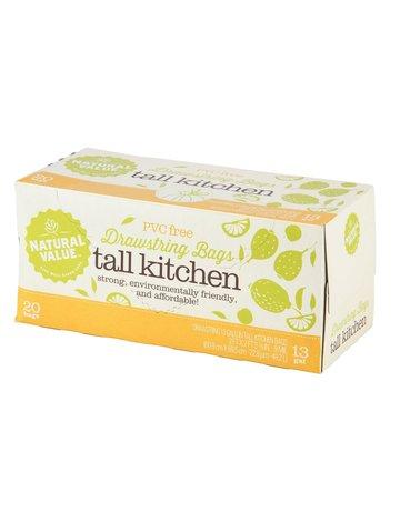 Natural Value Tall Kitchen Drawstring Bags - 13 Gallon - 20 Count