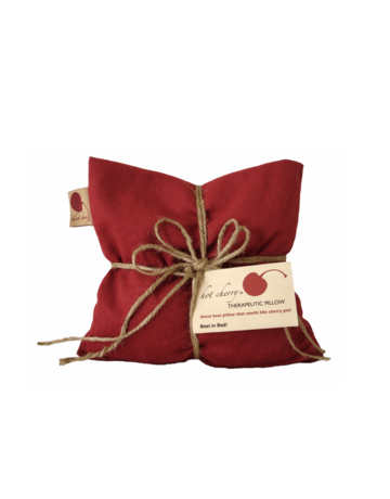 Hot Cherry Square Hot Cherry Therapeutic Pillow in Red Denim