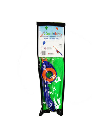 Castakite Green Kite - Blue Handle - Orange Cast